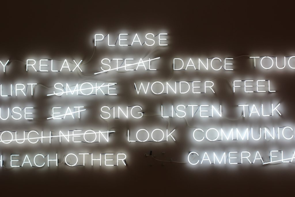 Wall of Neon Word Choices